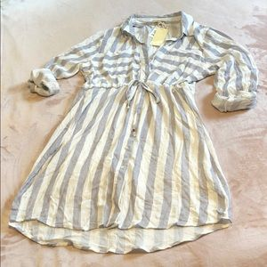 Blue & White Striped Shirt Dress 👗